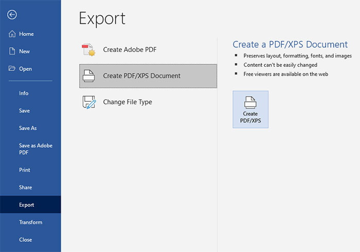 Export Word Document to PDF